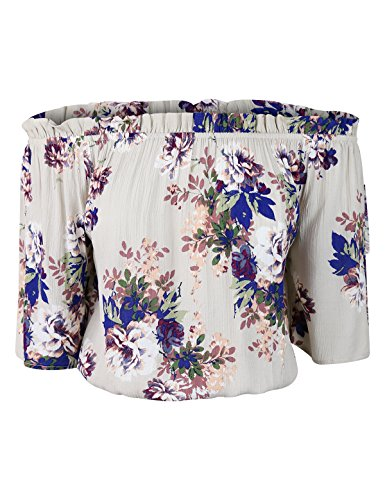 makeitmint Women's Crinkle Floral Print Off Shoulder Elastic Hem Crop Top YIT0033-CREAM-MED Crinkle Cotton Big Shirt