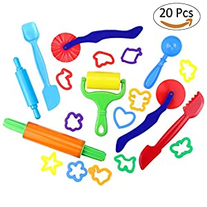 Dough Modeling Tools Kit, Homga Durable Smart Dough & Clay with 12pcs Models and 8pcs Molds - Non-toxic plastic