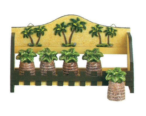 TROPICAL PALM TREE KITCHEN 5PC SPICE RACK, 3D DECOR