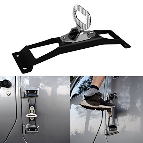 DIYTUNINGS Black Door Hinges Foot Rest Pedal Peg No Drilling for Jeep Wrangler JK JKU Unlimited Rubicon Sahara X Off Road Sport Exterior Accessories Parts 2007-2017