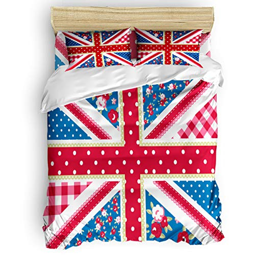 CHARMHOME Duvet Cover Set Twin Size - Creative Union Jack Design Soft 4 Piece Bedding with Sheet Set and 2 Decorative Pillows Shams - No Comforter