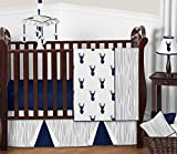 Sweet Jojo Designs 11-Piece Navy Blue White and Gray Woodland Deer Print Boy Baby Bedding Crib Set Without Bumper