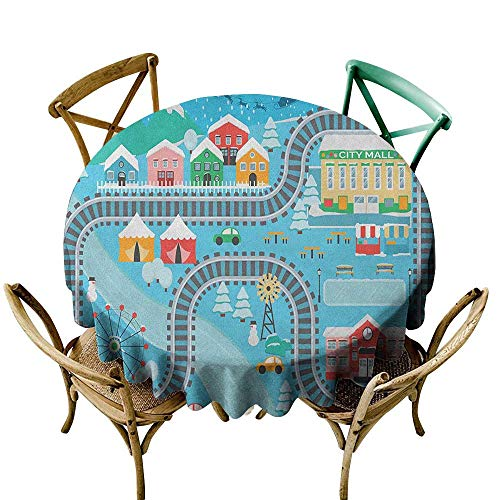 Wendell Joshua Tablecloth 36 inch Kids Activity,Lovely City