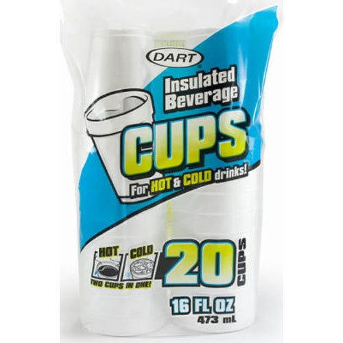 DART CONTAINER 16FP20 20 Count White Foam Cup, 16 oz