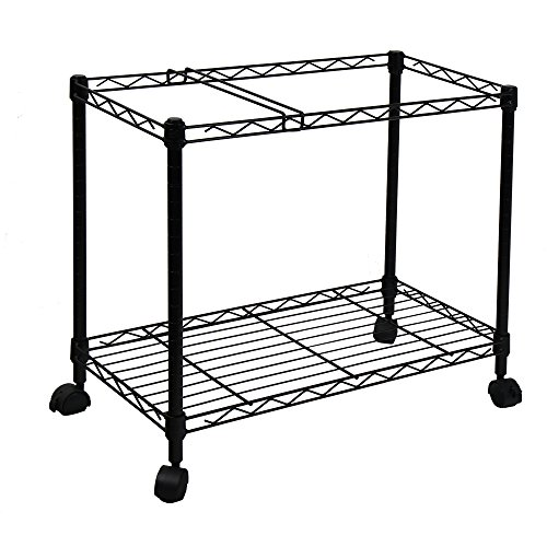 Oceanstar Portable 1-Tier Metal Rolling File Cart, Black