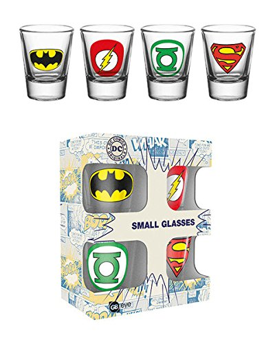- Justice League Of America - DC Comics - 4 Piece Shot Glass / Shooters Set (Shot Glasses) (Batman, Superman, Green Lantern & The Flash Insignias)