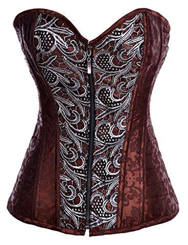 Alivila.Y Fashion Sexy Punk Front Zip Up Corset 2836 With G-String-Brown-XL
