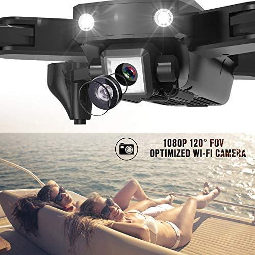 Goolsky CSJ S166GPS Drone avec Caméra 1080P/720P Retour Automatique Accueil WiFi FPV Vidéo en Direct Geste Photos avec 1/2/3 Batterie(Facultatif ) Quadricoptère RC pour Adultes (1080P & 2 Batteries)
