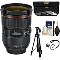 Canon EF 24-70mm f/2.8 L II USM Zoom Lens with Tripod + 3 Filters Kit for EOS 6D, 70D, 7D, 5DS, 5D Mark II III, Rebel T3, T3i, T5, T5i, T6i, T6s, SL1