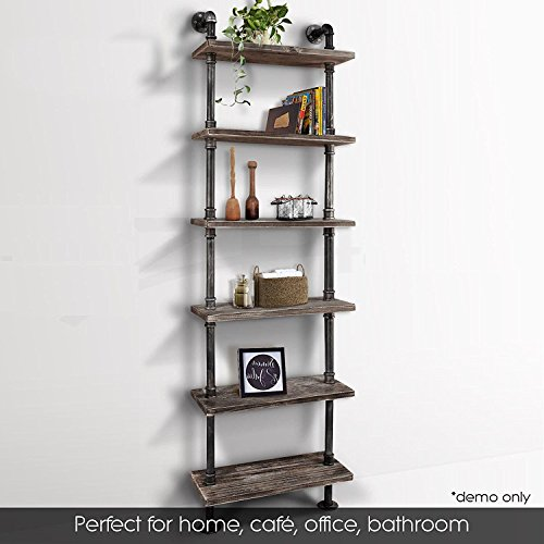 Industrial 6-Tiers Modern Ladder Shelf Bookcase