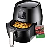 Air Fryer 1400W Electric Deep Air Fryer Less Fat Oil  Healthy Cooker With Detachable Basket Multi-function Dual Dial Timer Temperature Control LED Display Black