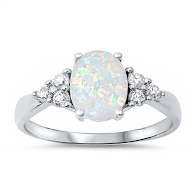 Brand new Amazon.com: White Australian Opal & White CZ Ring: Jewelry SR13