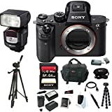 Sony Alpha a7RII Mirrorless Digital Camera (Body Only), Sony 64GB Memory Card, Sony HVL-F43M External Flash/Video Light, Battery and Charger, Focus Tripod, Focus Camera Digital SLR Camera Bag Bundle