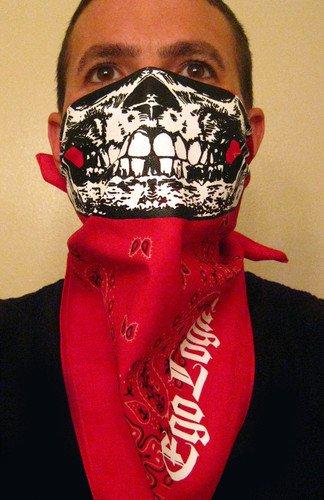 White Skull Ruby Red Paisley Bandana Half Face Mask ...