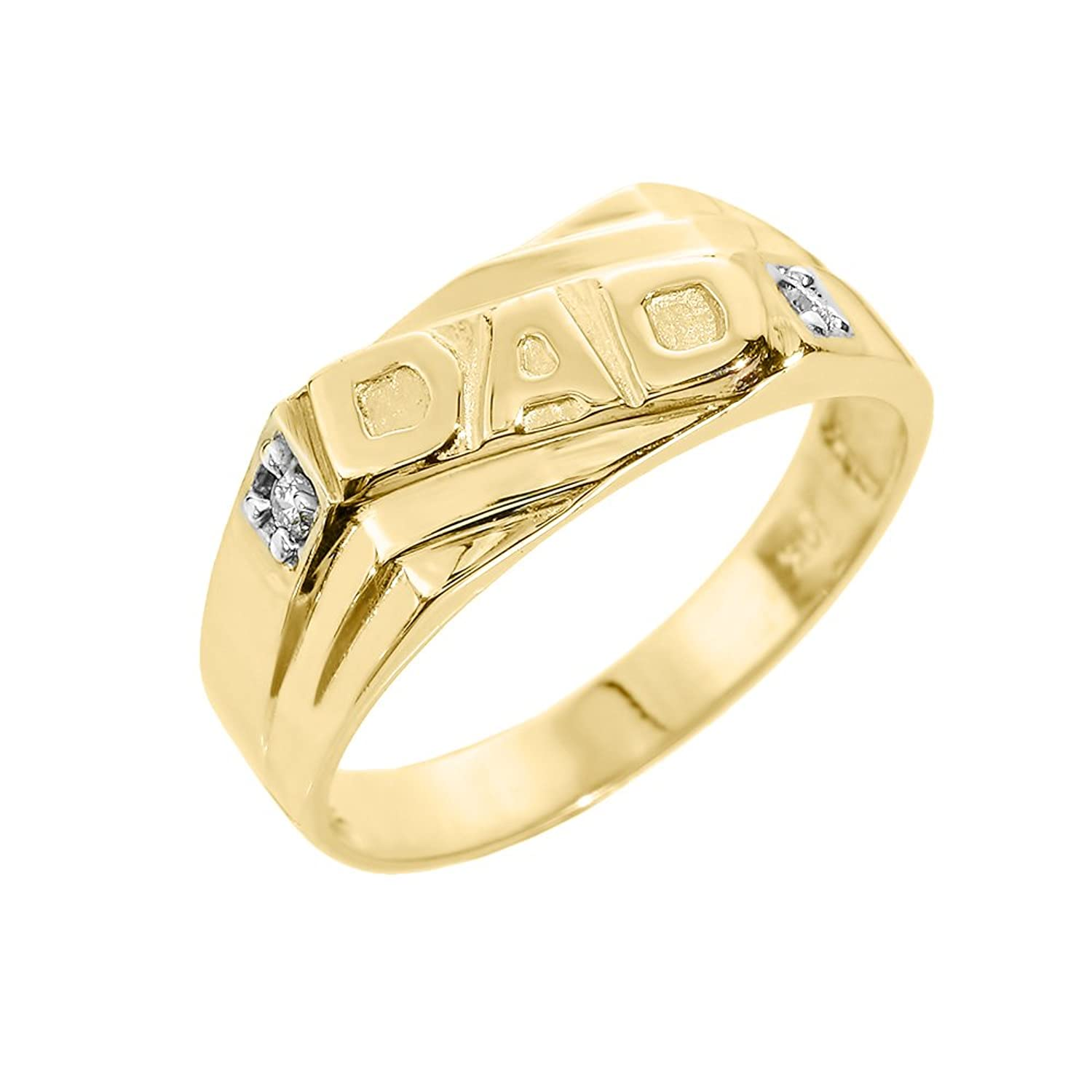 Men's 10k Yellow Gold Solid Band Diamond Dad Ring