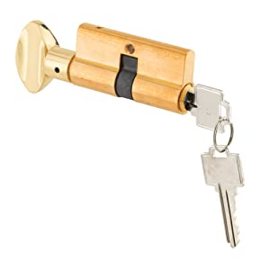 Prime-Line Products K 5062 Key Cylinder w/Thumbturn, Solid Brass Construction, Polished Brass Finish