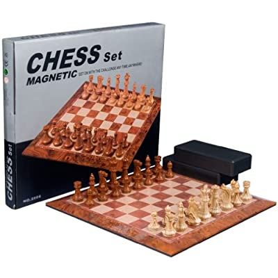 Full Sized Magnetic Chess Set with Large 15.5 Inch Chess Board and Durable Chess Pieces