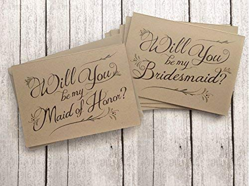 5 Pack - Will You Be My Bridesmaid Cards (4), Maid of Honor Card (1) - Assortment Pack of 5 - Kraft Rustic Wedding Party Cards by Side Street Designs
