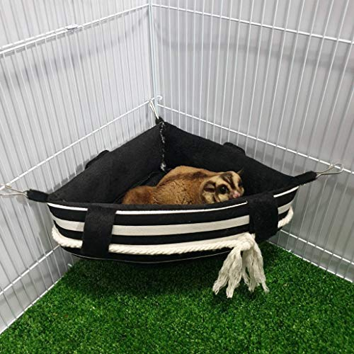 Brown Sugar Pet Store Sugar Glider, Hedgehog, Hamster, Squirrel, Chinchillas, Rabbit, Ferret, Triangle Angle Cage Bed Pattern Black Color
