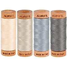 Aurifil 80wt Egyptian Cotton Thread, (4) 306 Yards (280 Meters) Spools, Colors: Light Sand (No. 2000), Light Blue Grey (No. 2610), Grey Smoke (No. 5004), Moondust (No. 6725)