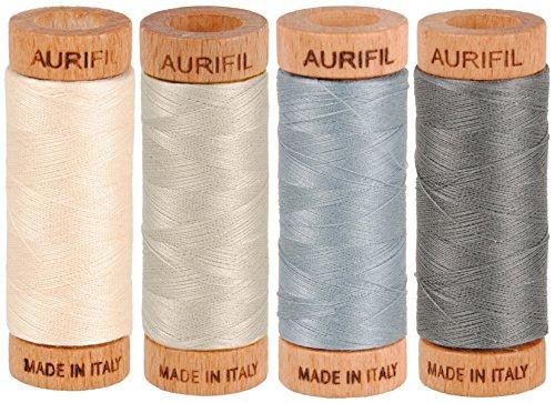 Aurifil 80wt Egyptian Cotton Thread, (4) 306 Yards (280 Meters) Spools, Colors: Light Sand (No. 2000), Light Blue Grey (No. 2610), Grey Smoke (No. 5004), Moondust (No. - Egyptian Applique