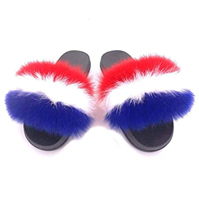 Xunxun Women Real Fox Fur Feather Vegan Leather Open Toe Single Strap Slip On Sandals | Sandals