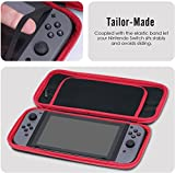 Storage Case Cover for Nintendo Switch- ametoys Nylon Pouch Protective Waterproof Travel Case Bag with 10 Game Card Slot Holder & Zipper Pocket Black