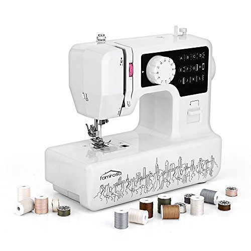 Sewing Machine, Famirosa Portable Small Starter Sewing Machines JG-1602 for Beginners Crafters Kids Girls, 2 Speed with 12 Stitches - Built In Pinhole