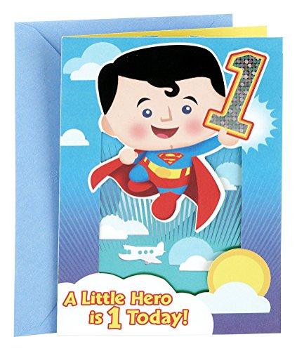 Hallmark 1st Birthday Greeting Card for Boy (Pop Up Superman)]()