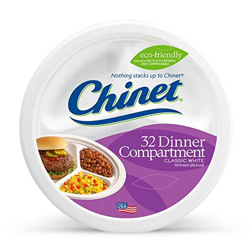 Chinet Classic Paper Bowl - Chinet Classic White Compartment Plate, White, 10-3/8 Inch, 32 Count