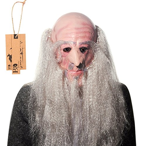 Oldies Costume (YUFENG Halloween Old Wizard Mask with Long White Beard,Latex Animated Masks Perfect for Halloween Costumes and Cosplay ( gandalf mask))