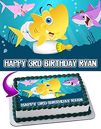 BABY SHARK Edible Cake Topper Personalized Birthday 1 4 Sheet Decoration Custom Party