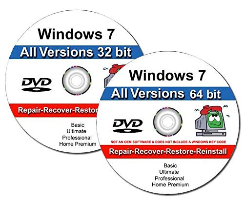 Windows 7 All-in-One All Versions 32/64-Bit Install Boot Recovery Restore DVD DISC Perfect for Install or Reinstall of Windows
