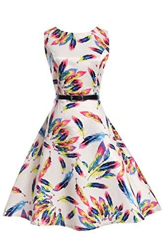 YMING Damen Elegantes Kleid ALinie Sommerkleid Vintage Kleid ...