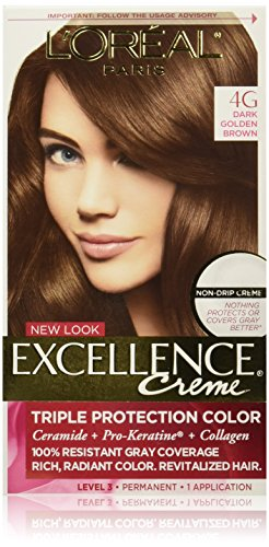 Oreal Creme (L'Oréal Paris Excellence Créme Permanent Hair Color, 4G Dark Golden Brown)