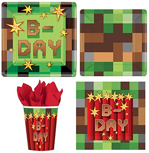 Four-seasonstore MineCraft TNT Value Pack Birthday Party for 8 guests ( Plates, Cups, Napkins)