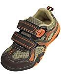 Coodo - Boy's Athletic Velcro Strap Light Weight Running Sneakers Shoes, Brown, Orange 38381-12MUSLittleKid