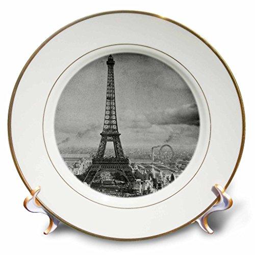 3dRose LLC Eiffel Tower Paris France 1889 Black and White 8-Inch Porcelain Plate