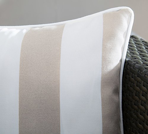 """Ornavo Home Water Resistant Indoor/Outdoor Square Patio Decorative Stripe Throw Pillow Cushion - Insert Included - Set of 2-18"""" x 18"""" - Beige - LONG LASTING: These 18-inch accent pillows are made with premium fabric for superior color retention and resistance to mildew and stains, so they're ready for the great outdoors. WATER REPELLENT: This set includes two pillows, each featuring a 100% polyester cover that's resistant to moisture, making the pillows weatherproof and appropriate for patio furniture. The cover has the highest UV and abrasion resistance ratings. FADE RESISTANT: Rejuvenate your patio or deck furniture with these striped outdoor throw pillows. The set of two pillows are constructed from fade-resistant fabric and filled with polyester fill to withstand wear and tear from outdoor exposure. - patio, outdoor-throw-pillows, outdoor-decor - 51YwxhhT1uL -"""