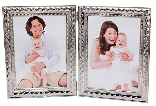 LEADEX Refined Double Sided Photo Frame,Folding Photo Frame, Silver Plated,Home Décor Or Birthday/Party Gift,5 by 7 Inch (Floral Silver)
