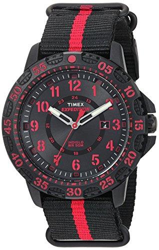 Timex Men's TW4B05500 Expedition Gallatin Black/Red Nylon Slip-Thru Strap Watch