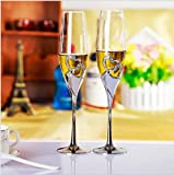 2 PCS/ Set Wedding Champagne Crystal Silver Plated Toasting Flutes Long Wine Glasses Cup Diamond Ring for Party Decoration Gift