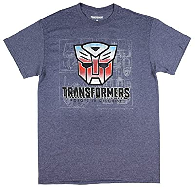 Hybrid Transformers Men's Optimus Prime Robots In Disguise Blue Heather T-Shirt