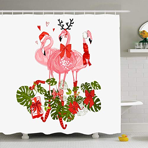 Ahawoso Shower Curtain 72x72 Inches Fun Beak Flamingo Pink Tropic Merry Holiday Christmas Happy Holidays Cool Cute Design Monstera Waterproof Polyester Fabric Set with Hooks