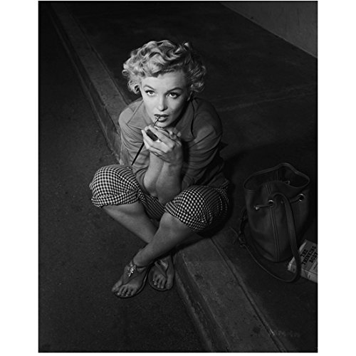 Marilyn Monroe 8Inch x 10Inch Photo Some Like It Hot The Seven Year Itch Gentlemen Prefer Blondes B&W Applying Lipstick Looking Up - Applying Lipstick