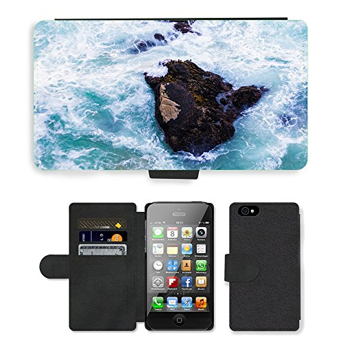 PU Leather Cover Custodia per // M00421765 Ocean Rocher Mer Nature Voyage eau // Apple iPhone 4 4S 4G