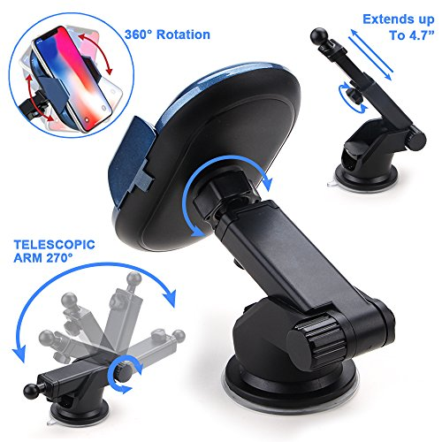 Wireless Car Charger, Automatic Qi Wireless Dashboard Car Mount Wireless Charger Phone Holder 7.5W for iPhone X/8/8 Plus, 10W for Samsung Galaxy S9/S9+/Note 8/S8/S8 Plus, 5W for All QI standard Device by TopMoon (Image #3)