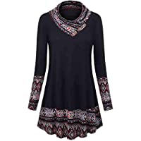 ad154d32ce6 Baiggooswt Women s Christmas Long Sleeve Button Cowl Neck Floral Printed  Casual Tunic Tops