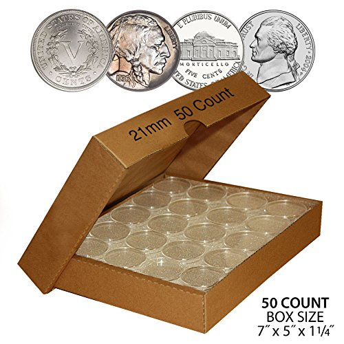 (50 NICKEL Direct-Fit Airtight 21mm Coin Capsule Holder NICKELS (QTY: 50) w/BOX)