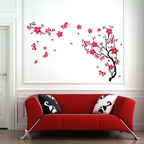 Red Plum Blossom Wall Sticker Removable Art DIY Home Decor